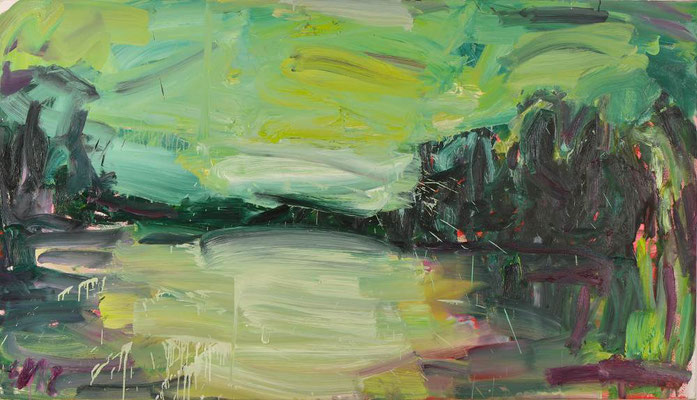 Gabi Streile, DSCHUNGEL (BEWEGT), 2012, Öl auf Leinwand, 120 x 210 cm