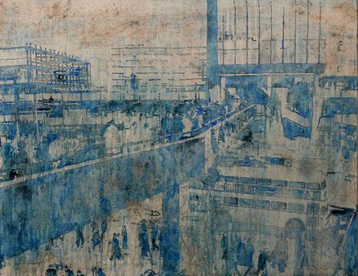DAHEIM IST AM SCHÖNSTEN, Aquarell, Tusche, Rost auf Leinwand, 80 x 100 cm