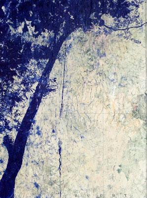 PADDELN IM REHBERGE-PARK, IN DER KIELER BUCHT VON ZITRONEN TRÄUMEN, 2020, Kugelschreiber auf Seekarte, 40 x 30 cm
