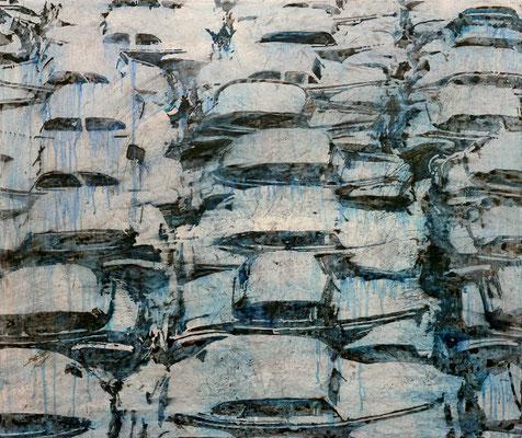 SCHON WIEDER AUTOKINO, 2020, Aquarell, Tusche, Acryl auf Leinwand, 80 x 95 cm