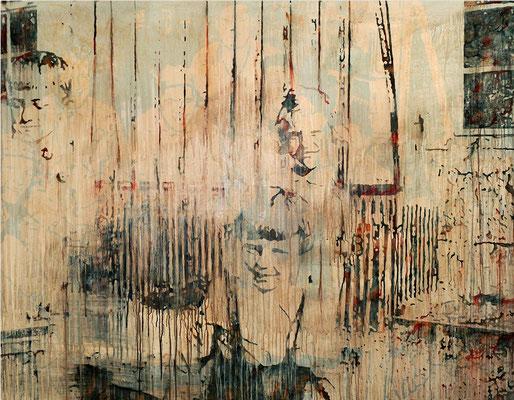 DAHEIM UND ANDERSWO, 2019, Tusche, Aquarell, Rost und Acryl auf Nessel, 140 x 180 cm