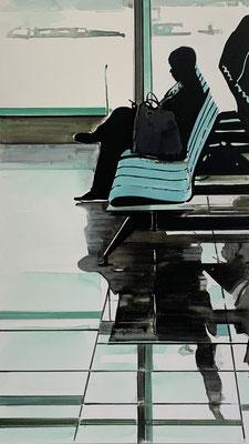 Koen Vermeule, Depart, 2020, Oil on canvas, 190 x 110 cm