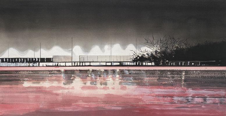 GHOSTS PINK, 2020, Gouache auf Papier, 42 x 78 cm