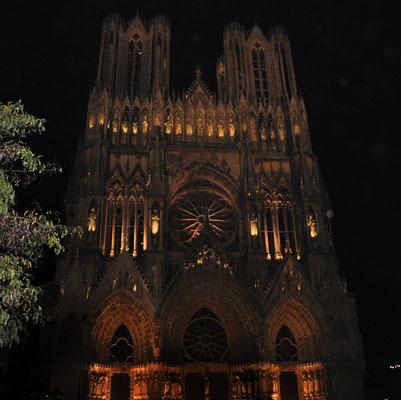 Reims : la cathédrale illuminée