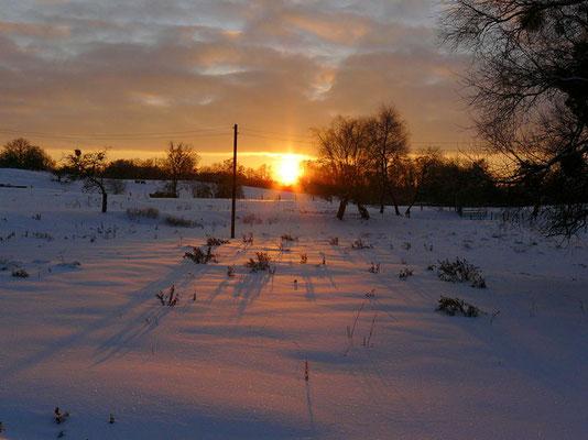 Die Sonne gießt noch kurz einen zarten Hauch Wärme über die verschneiten Wiesen...
