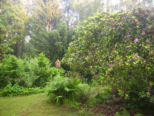 Gartenansicht mit Insektenhotel