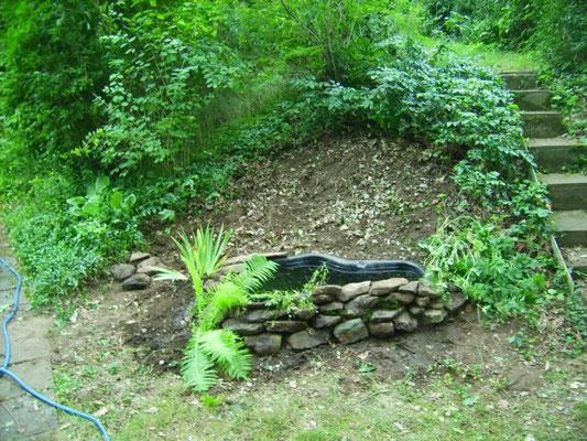 Juli '12: Vom Gestrüpp befreit, mit bereits angelegtem Teichbecken und allererster Bepflanzung