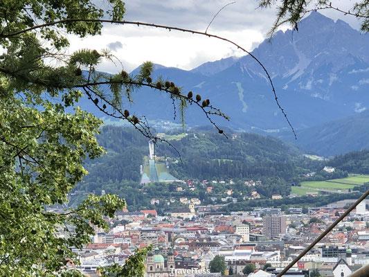 Uitzicht op Olympische skischans Innsbruck
