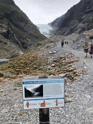 Oorspronkelijk beginpunt Franz Josef gletsjer