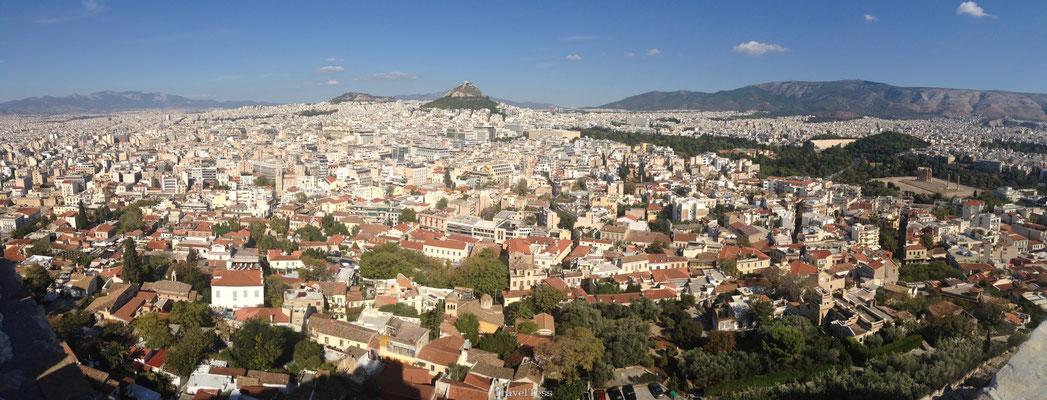 Uitzicht Athene vanaf de Akropolis