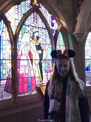 Disneyland Parijs Kasteel van Doornroosje glas in lood