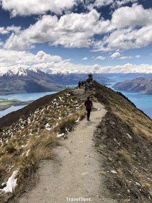 Smal pad naar fotoplek Roys Peak