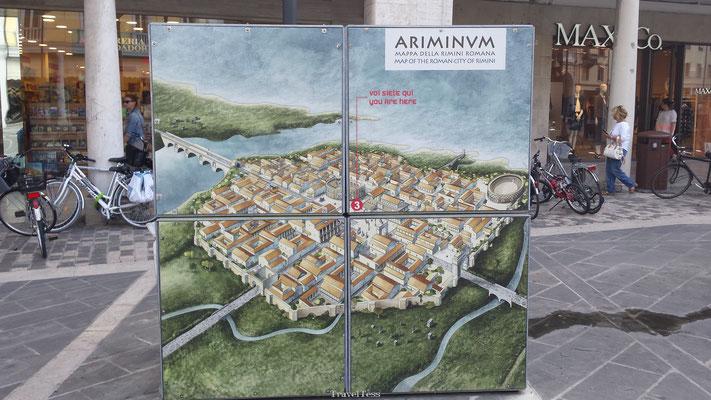 Oude stadsplattegrond Rimini