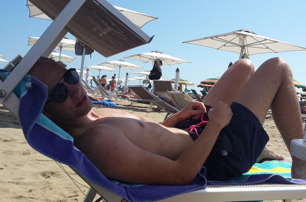 Op het strand in Rimini