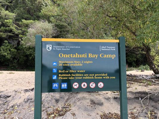 Onetahuti Bay bord