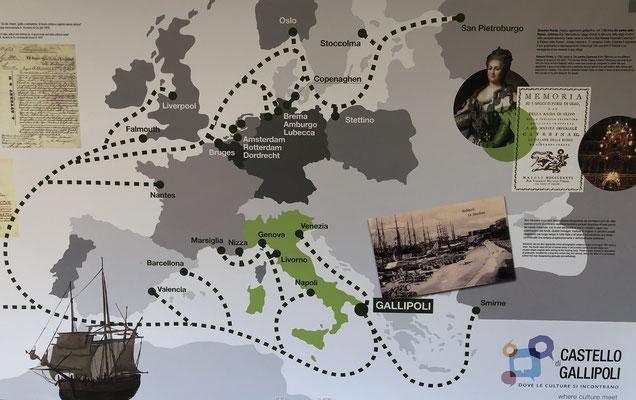 Kaart van Middeleeuws transport netwerk van olijfolie