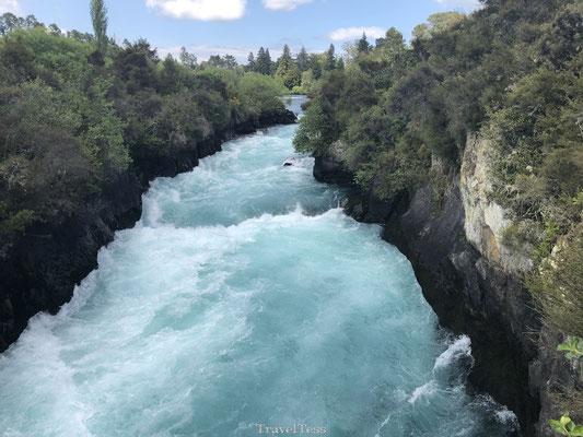 Indrukwekkende Huka Falls waterval