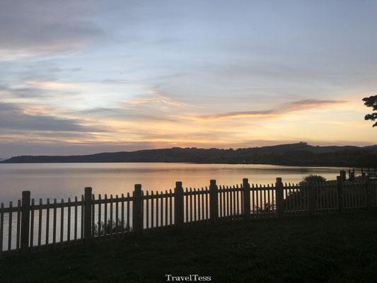 Ondergaande zon Lake Taupo