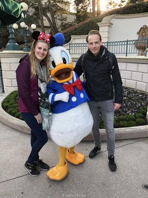 Ontmoeting met Donald Duck in Disneyland Parijs
