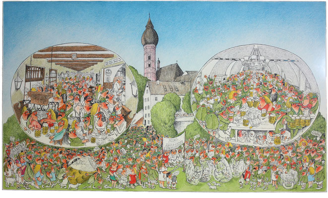 Ammersee – Alpenlandschaft 3, Andechs, S-W Lithographie, handcoloriert (unikat), 1972