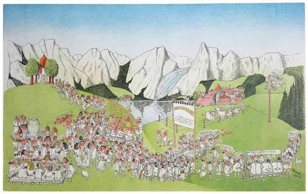 Alpenlandschaft 1, Hurlachinger Schützenfest, S-W Lithographie, handcoloriert (unikat), 1969