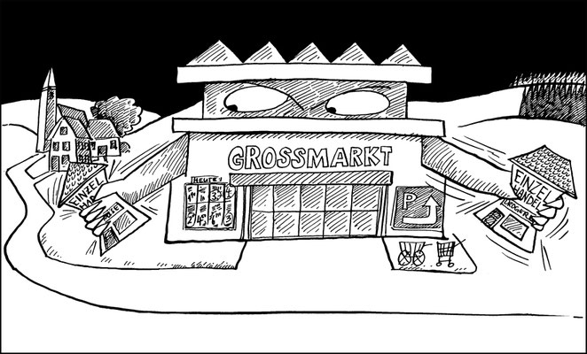 Großmarkt gegen Einzelhandel