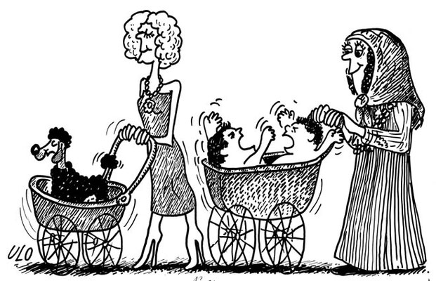 Einkaufswagen versus Kinderwagen