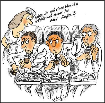 Essen und Trinken im Flugzeug