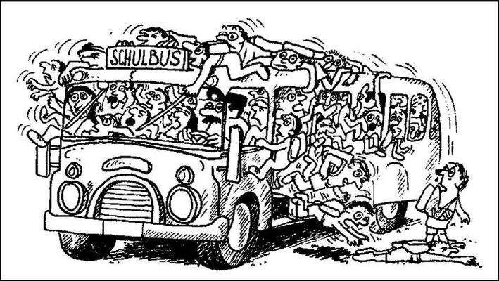 Überfüllte Schulbusse