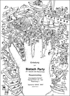 """Rosenmontag, Einladungskarte zu einer """"Bietsch""""-Party in Mainz"""