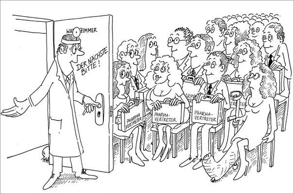Arzeneimittelvertreter füllen das Wartezimmer
