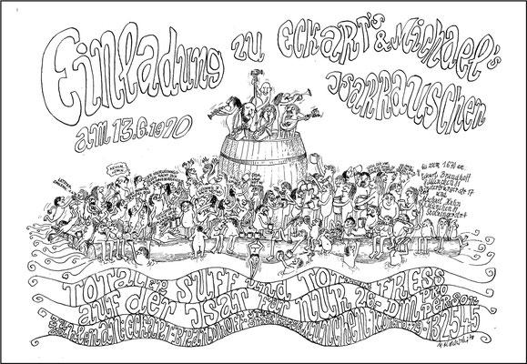 Studenten-Fest auf Isarfloß, 1970