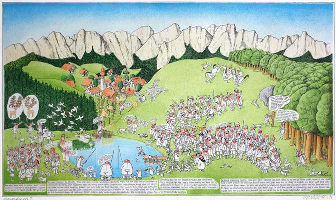 Alpenlandschaft 2, Jagdszenen in Oberbayern, S-W Lithographie, handcoloriert (unikat), 1971