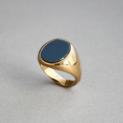Modellring, Stein: blauer Lagenachat, Ring 925er vergoldet