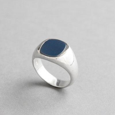 Modell für Wappenring, Lagenachat, Ring 925er Sterlingsilber