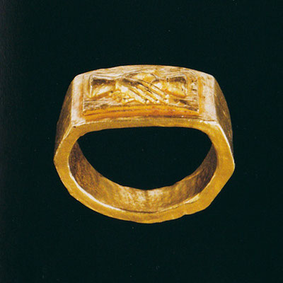 "Römischer Goldring, verschlungene Hände, 3. Jh. (Diana Scarisbrick, ""Rings Jewelry of Power, Love and Loyality"", 2013"