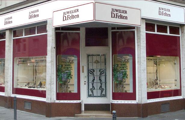 Ladenlokal von Juwelier Felten an der Kreuzung Balthasarstrasse – Neusserstrasse