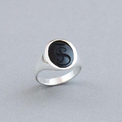 Herren Siegelring, Stein: schwarzer Onyx, Ring 925er Sterlingsilber