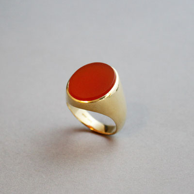 Herren Wappenring, Stein: Karneol, Ring 750er Gelbgold