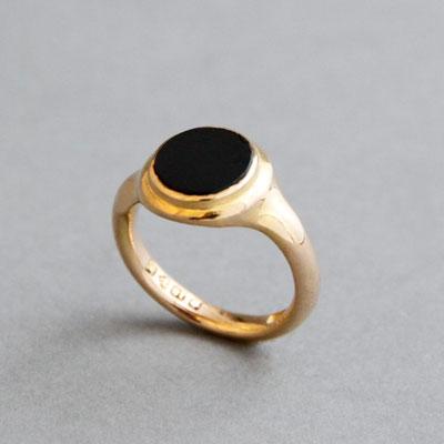 Modell für Wappenring, Stein Onyx, Ring 750er Roségold