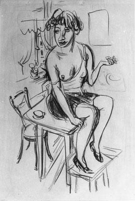 Sitzendes Modell mit Tasse (1929-1931)