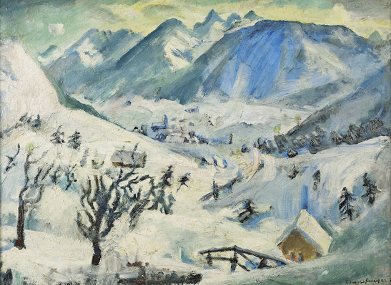 Dorf im Engadin mit Bernina (1924-1925)