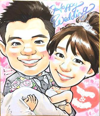飛行機で行く友達の結婚式で似顔絵をプレゼントするためにミニ色紙似顔絵を♫