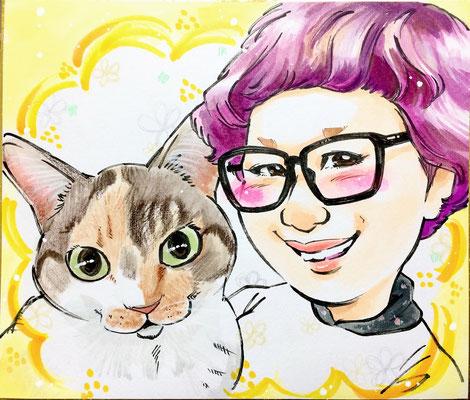 猫を飼っている友達のお礼にちょっとした似顔絵のプレゼント
