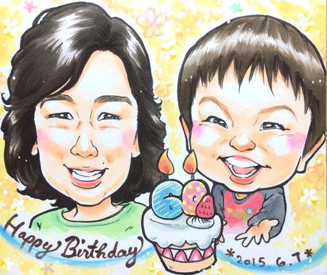 お母さんの誕生日に孫と一緒の似顔絵、ケーキのイラスト入り