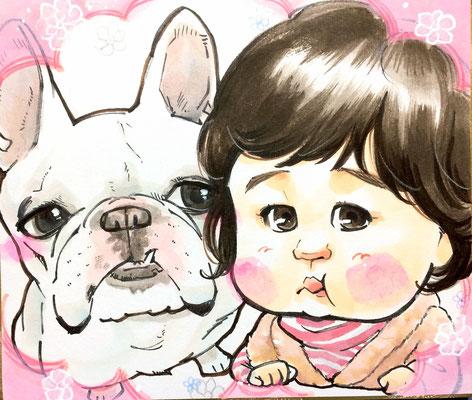 娘の誕生日、成長記録に愛犬と一緒の似顔絵