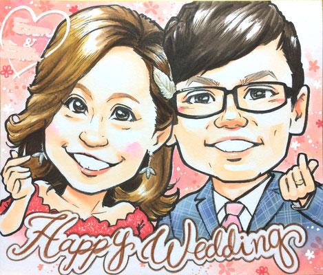 台湾の友人夫婦に似顔絵ウェルカムボードをプレゼント