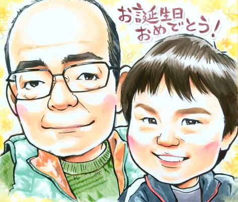 おじいちゃんの誕生日に孫と一緒の似顔絵プレゼント