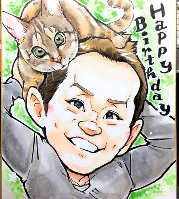 友達の誕生日に愛ネコと一緒の似顔絵プレゼント