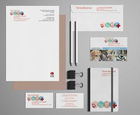 Grafikstudio Raster und Punkt Johannes Loibenböck, Grafiker Wien, Projekt Tierordination Gerzabek, Logodesign, Visitenkarten, Corporate Design